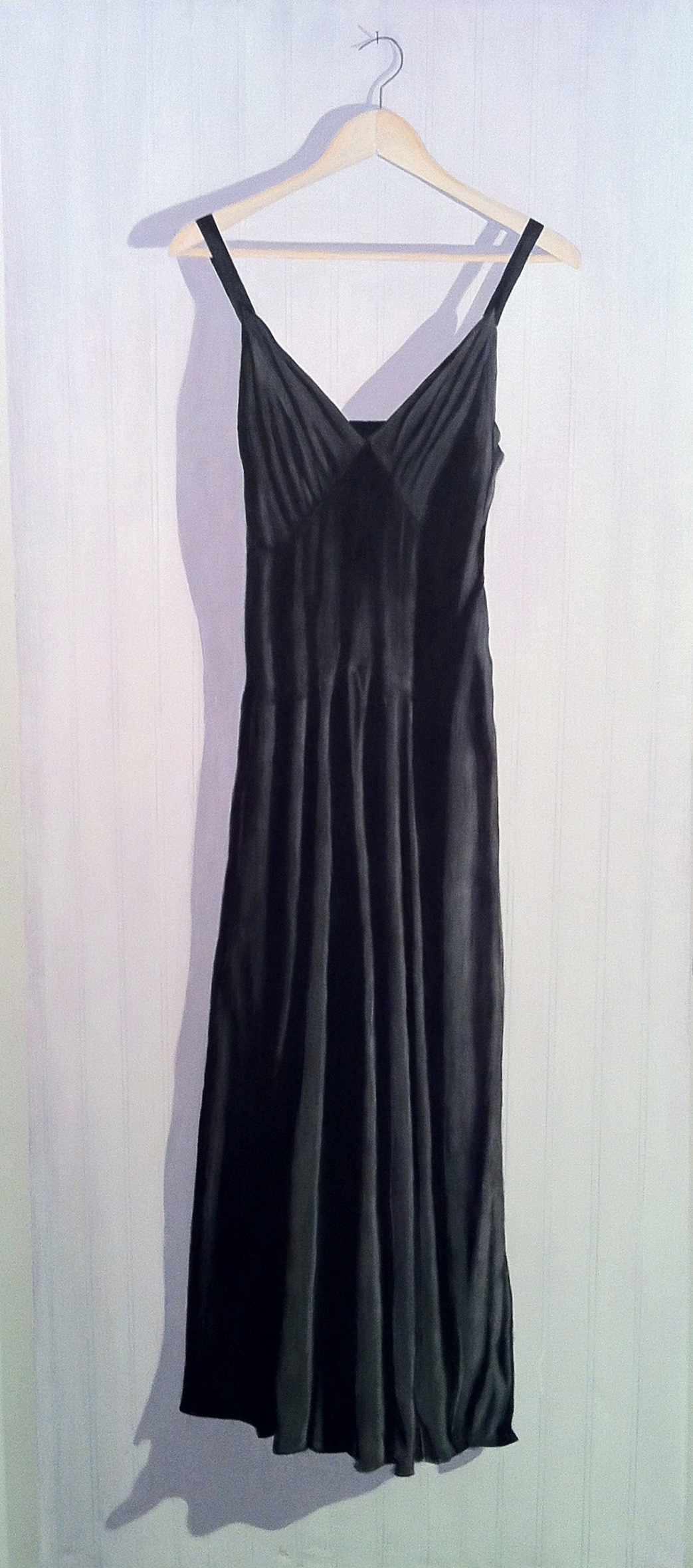 Vintage Black Dress, 30 X 70, acrylic