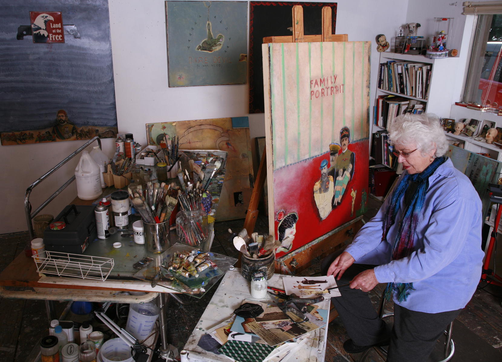 Inez Storer in her studio.  Inez Storer's work has been included in numerous group exhibitions throughout the country. She taught at the San Francisco Art Institute (1981 - 1999), Sonoma State University (1976 - 1988), San Francisco State University (1970 - 1973), and the College of Marin (1968 - 1979). She has received numerous grants and awards, including a Pollock-Krasner Foundation grant in 1999, and has worked twice as a visiting artist at the American Academy in Rome (1997, 1996). Her work is included in the permanent collections of the Fine Arts Museums of San Francisco, the Oakland Museum of California, the Lannan Museum in Fort Worth, Texas, the San Jose Museum of Art, and the de Saisset Museum at Santa Clara University. Storer lives in Inverness, California and maintains a studio in Point Reyes Station, California.