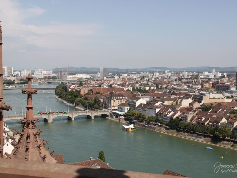 View of the Rhine river from Basel Munster