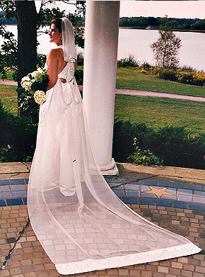 Custom wedding gown and veil