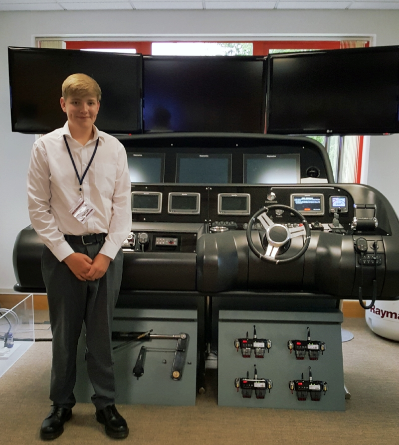 Oli on his work experience placement at Raymarine