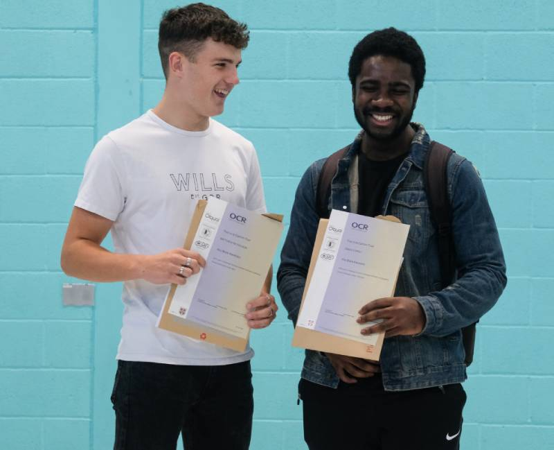 Matt N, who is joining the Royal Navy, with fellow student Jonas A, who is off to the University of Portsmouth