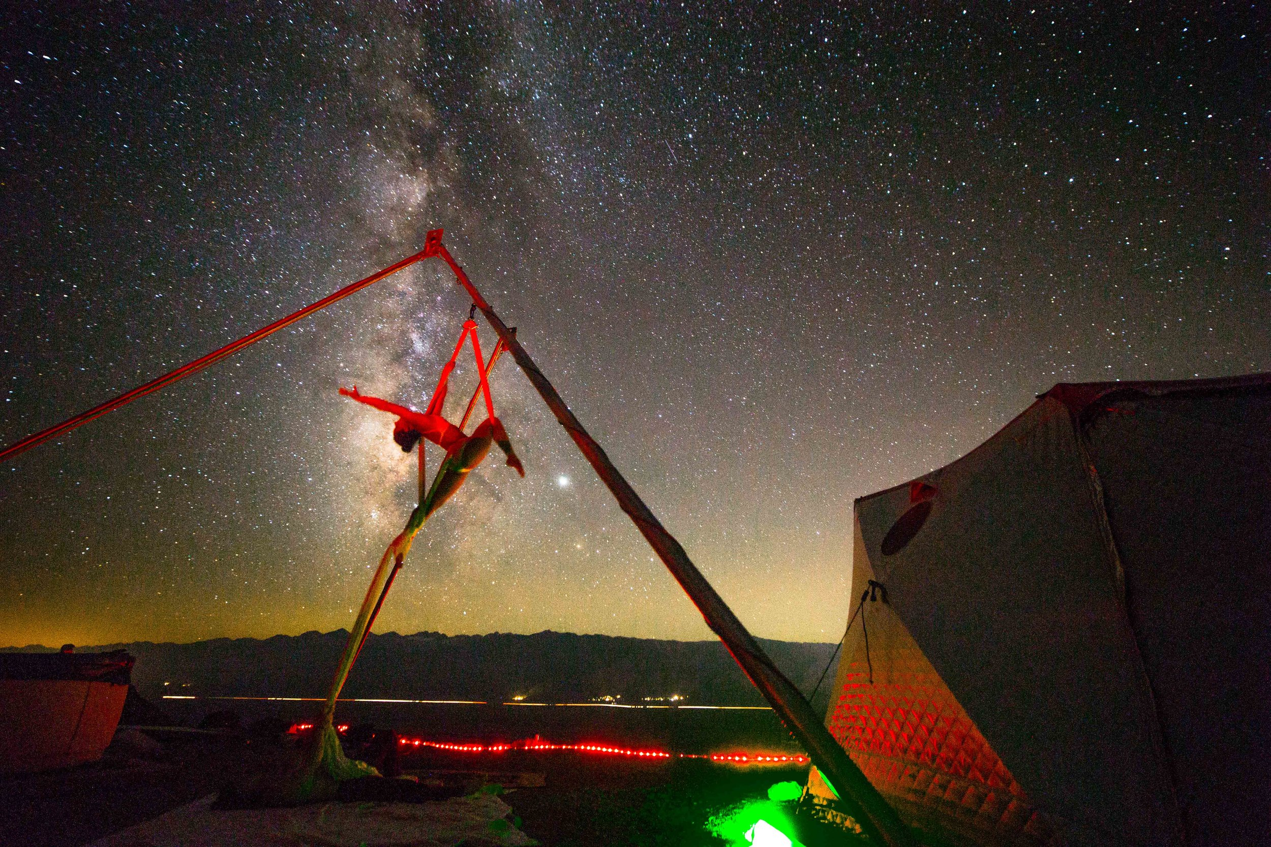 High resolution digital pictures included of you on the silks under the stars are provided