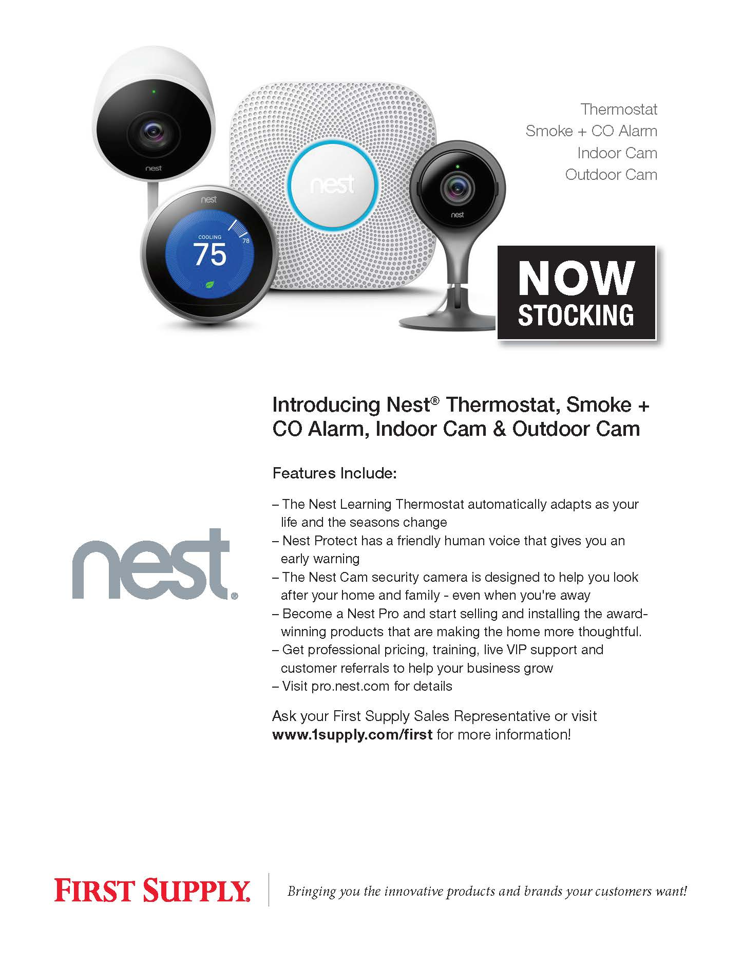 Nest Thermostat, CO Alarm, Indoor & Outdoor Camera [ download pdf ]