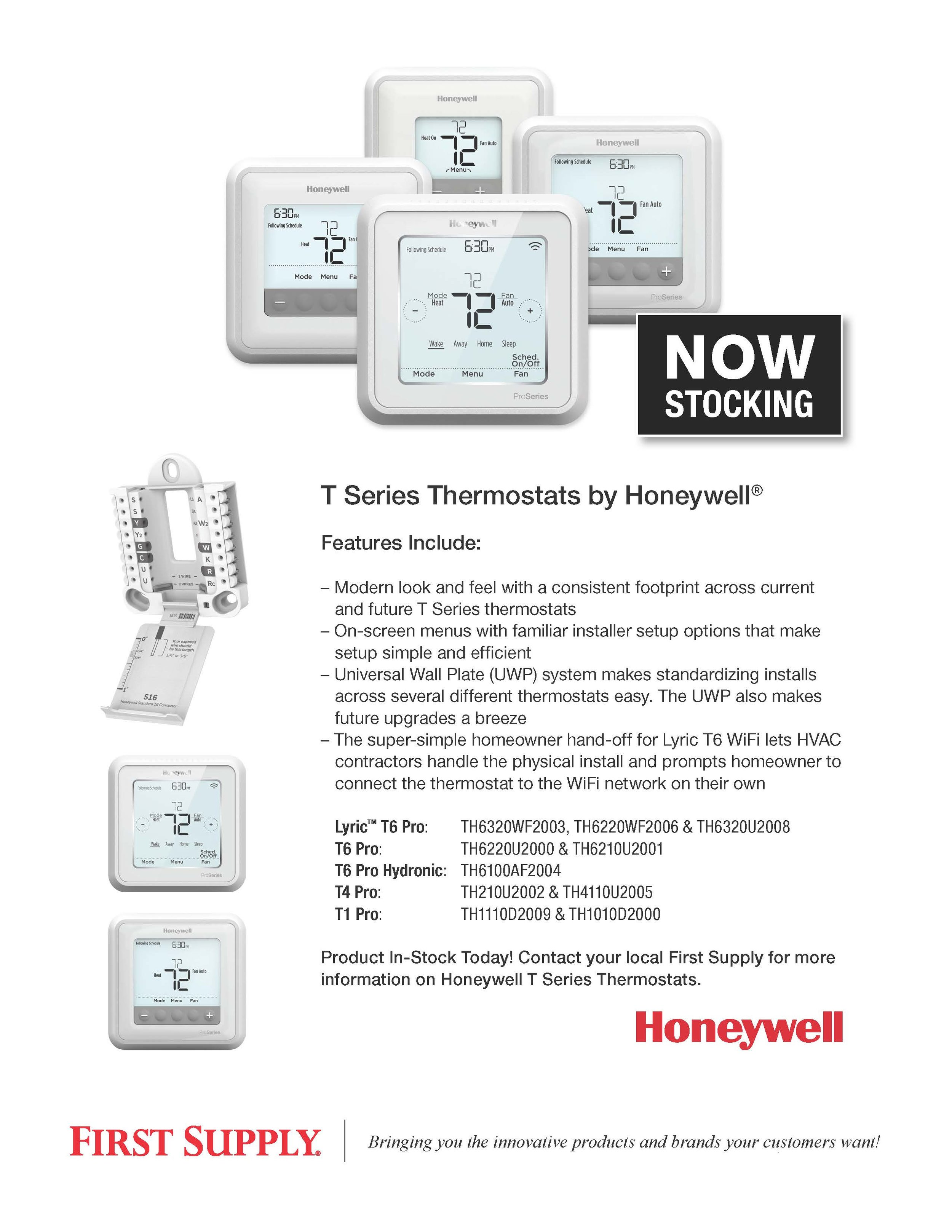 Honeywell T Series Thermostats [ download pdf ]