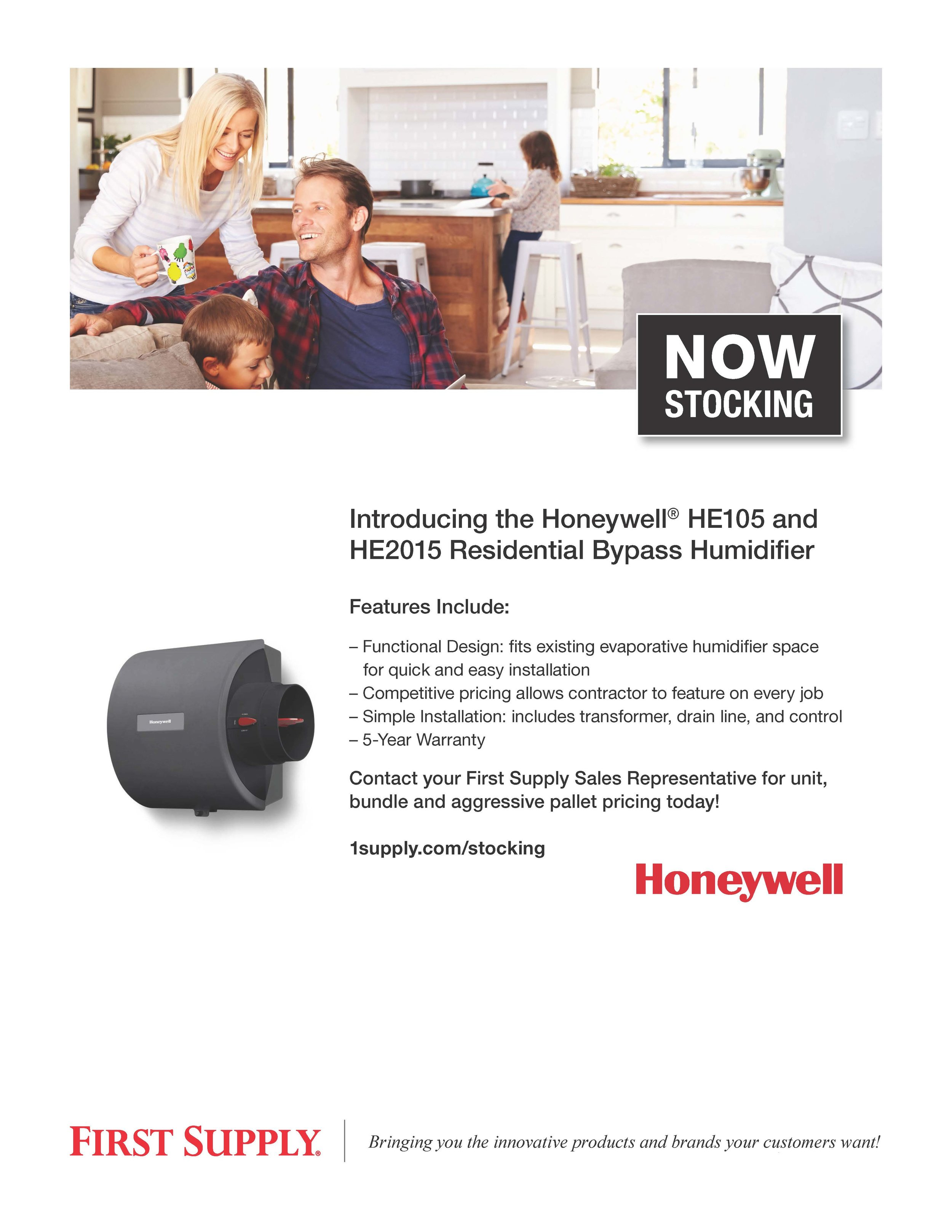 Honeywell HE105 & HE2015 Residential Bypass Humidifier [ download pdf ]
