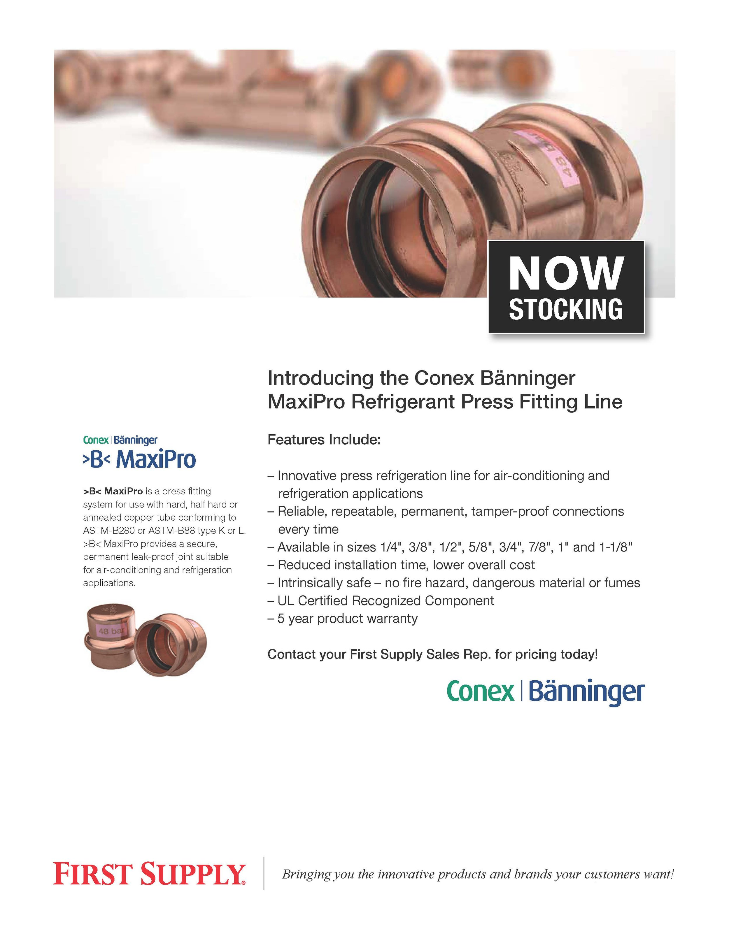 Conex Bänninger MaxiPro Refrigerant Press Fitting Line  [ download pdf ]