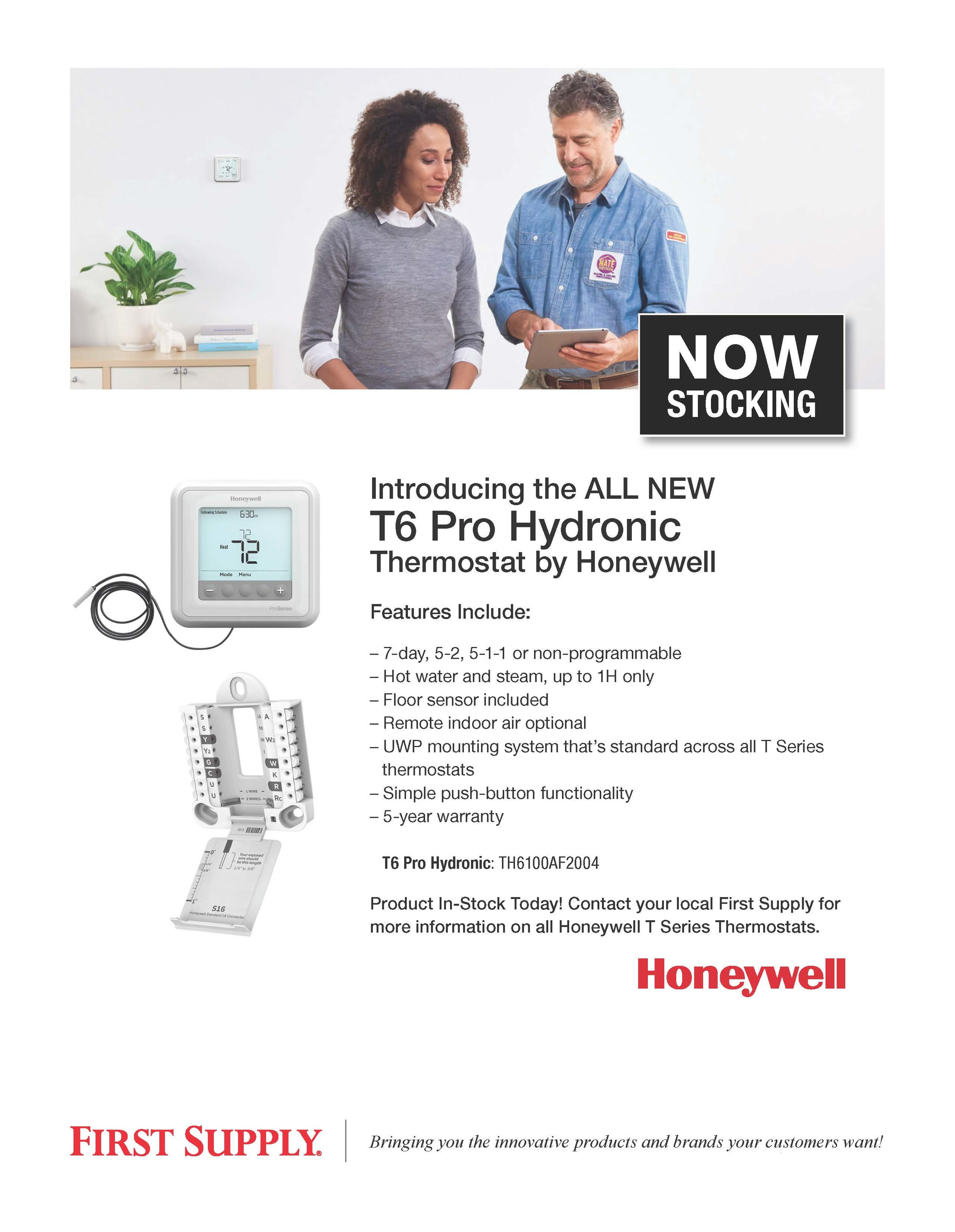 Honeywell T6 Pro Hydronic Thermostat [ download pdf ]