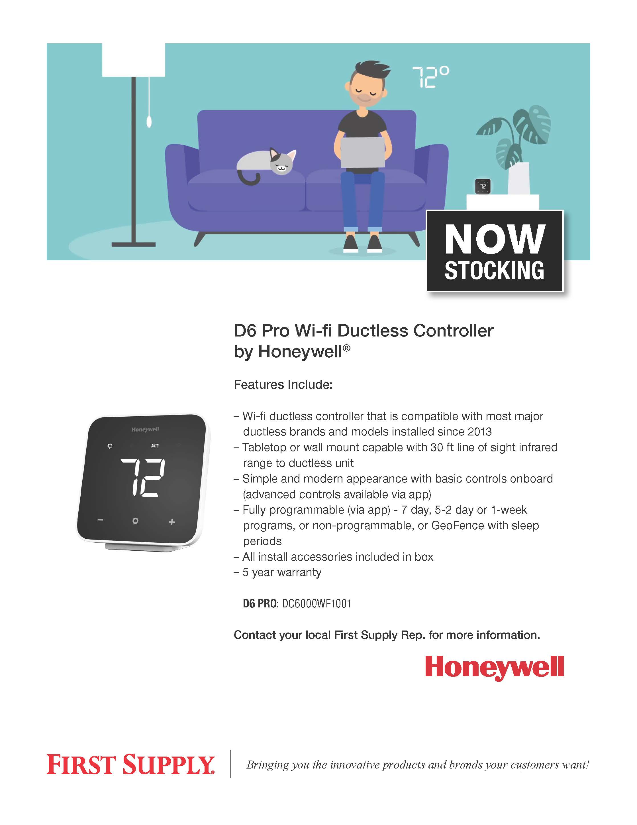 Honeywell D6 Pro Wi-fi Ductless Controller [ download pdf ]