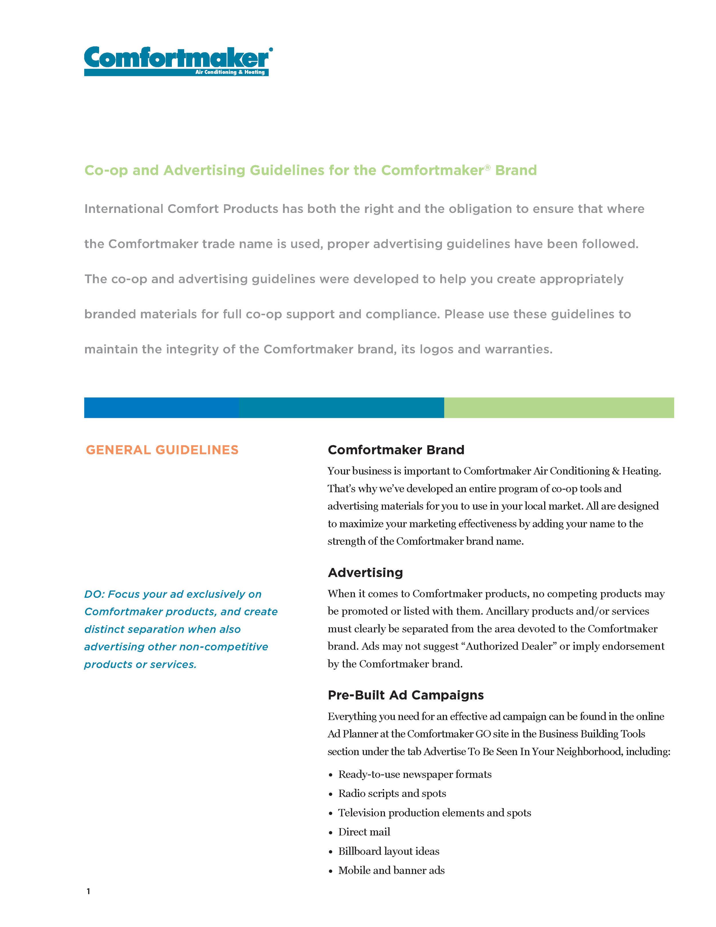 Comfortmaker Co-op and Advertising Guidelines
