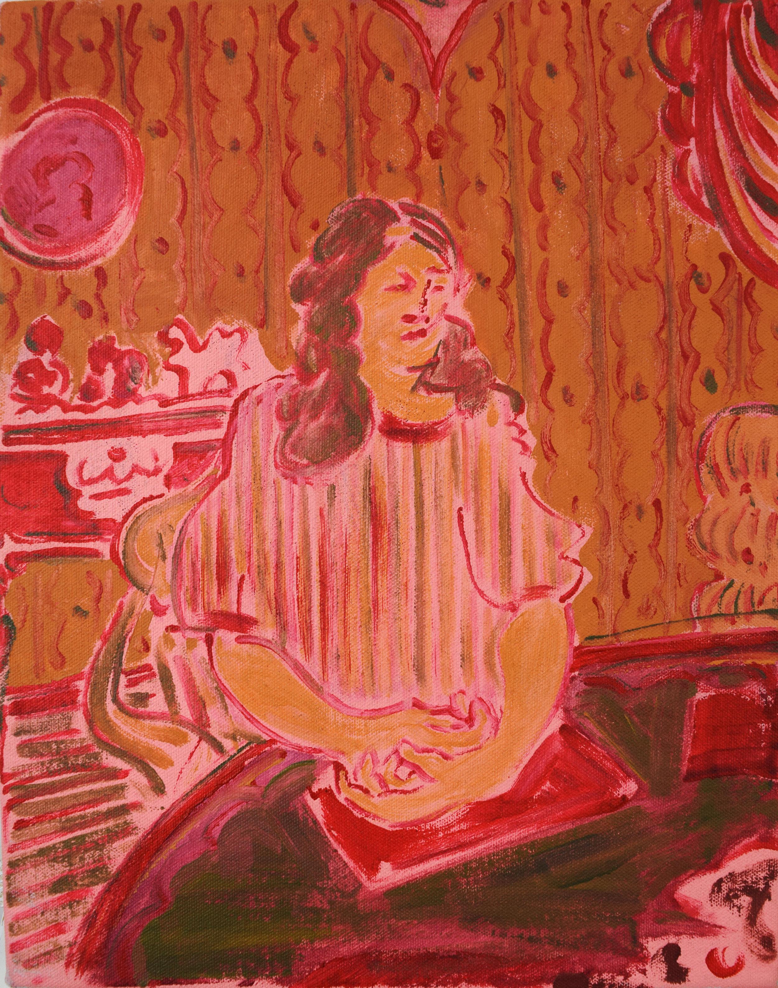 KevinPerkins, Woman At Table, 11x14, acrylic on canvas.jpg