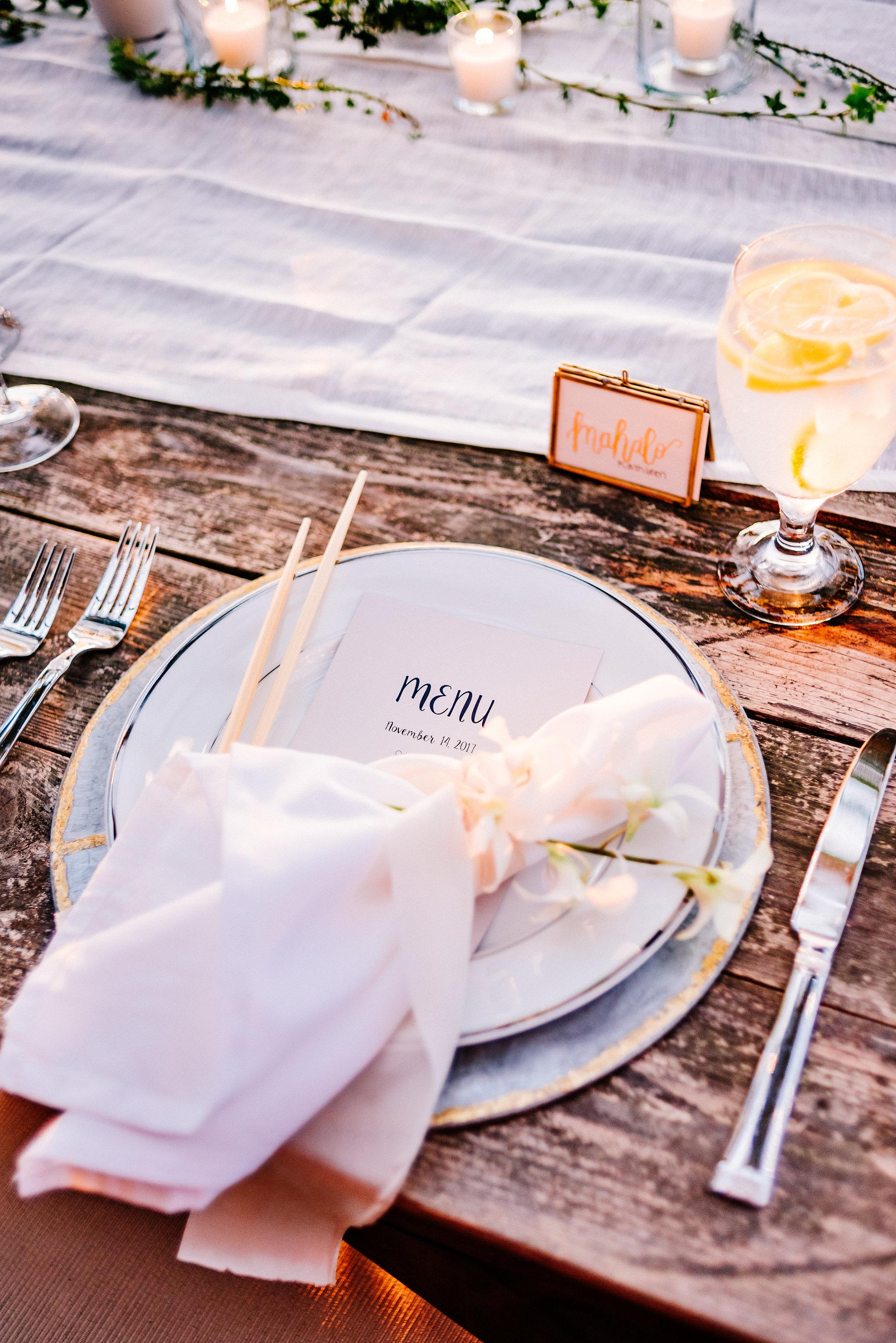 tablescape hawaii wedding venue