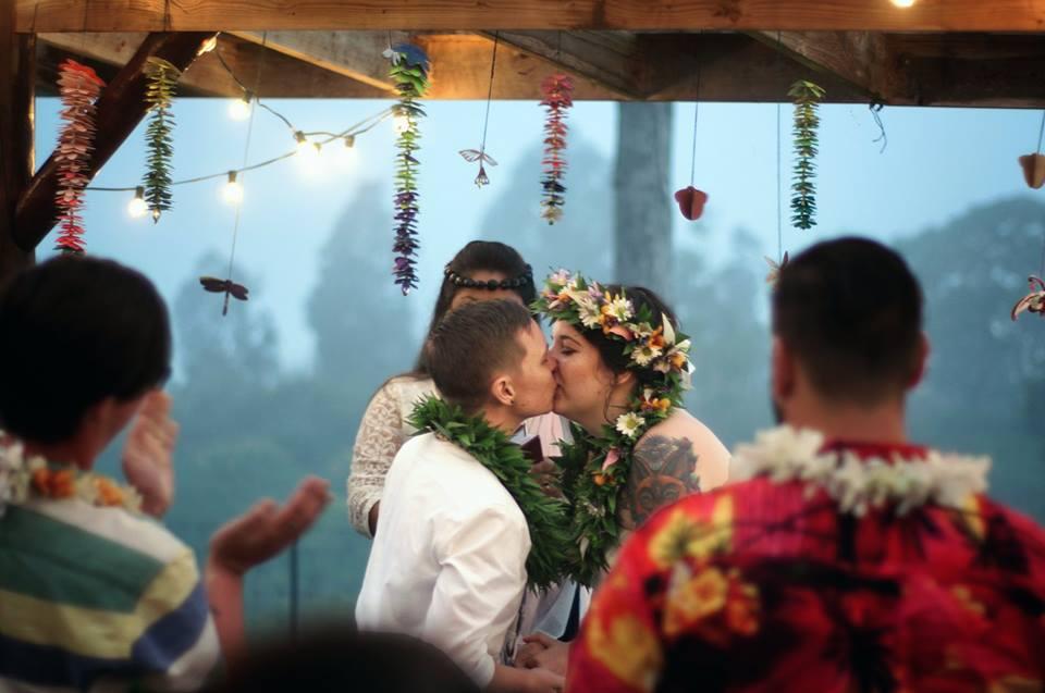 first kiss same sex wedding kona