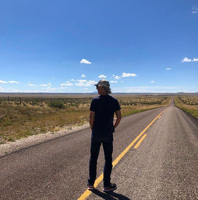 High desert, tall man. #johnleventhalfrombehind #marfa