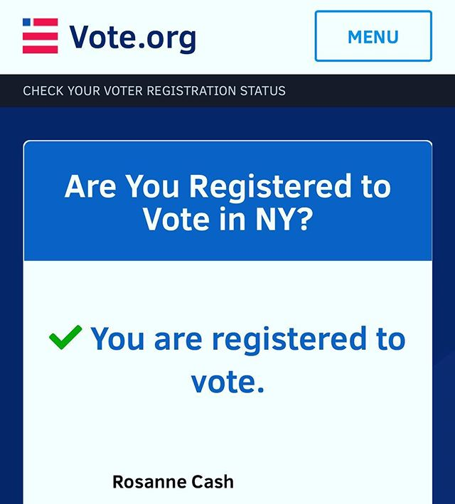 Go to Vote.org and register to vote or confirm that you're already registered. I checked my own status this morning. It took about 25 seconds. #vote