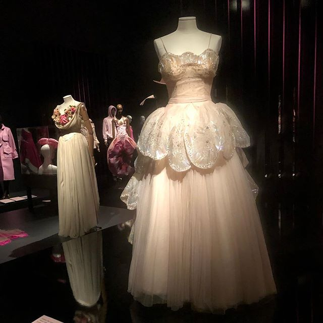 This fabulous Christian Dior dress is in the 'Pink' exhibit at @fitnyc. I sauntered through today, just soaking up the shades of pink. Very refreshing.