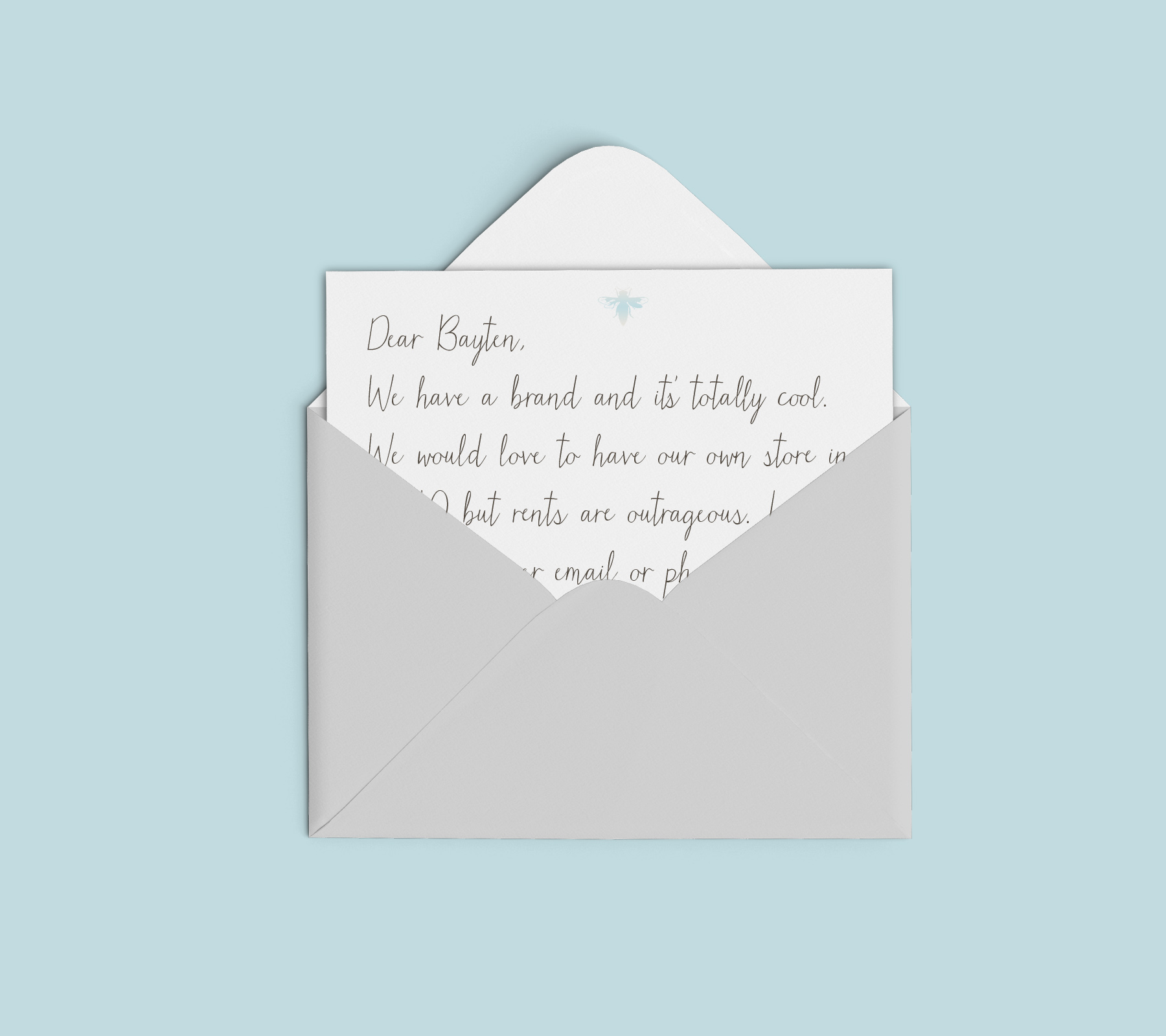 (Email is best, but isn't stationery just so charming? Seriously, just email us. hello@bayten.co)