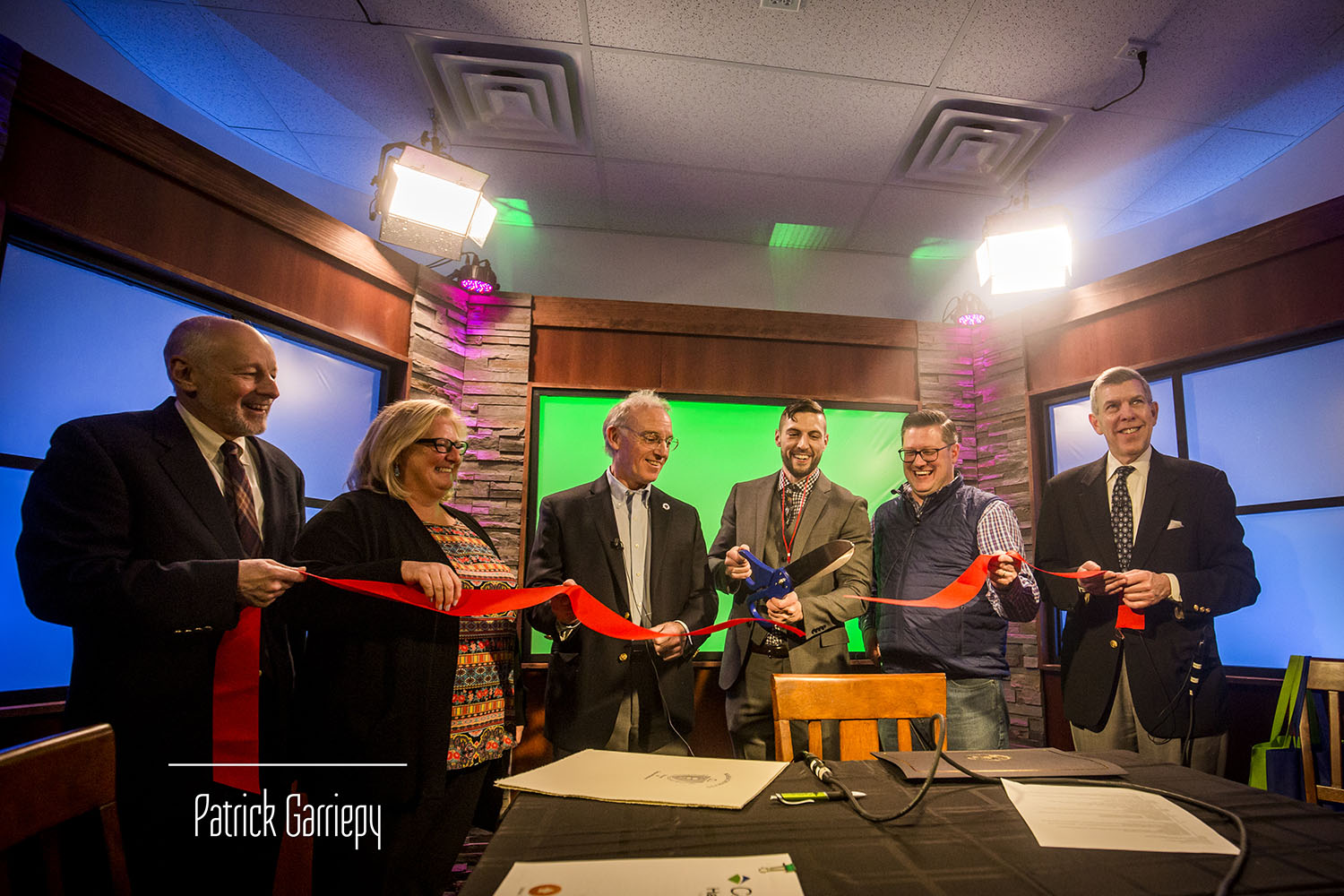 The official ribbon-cutting celebrating the opening of Studio B.
