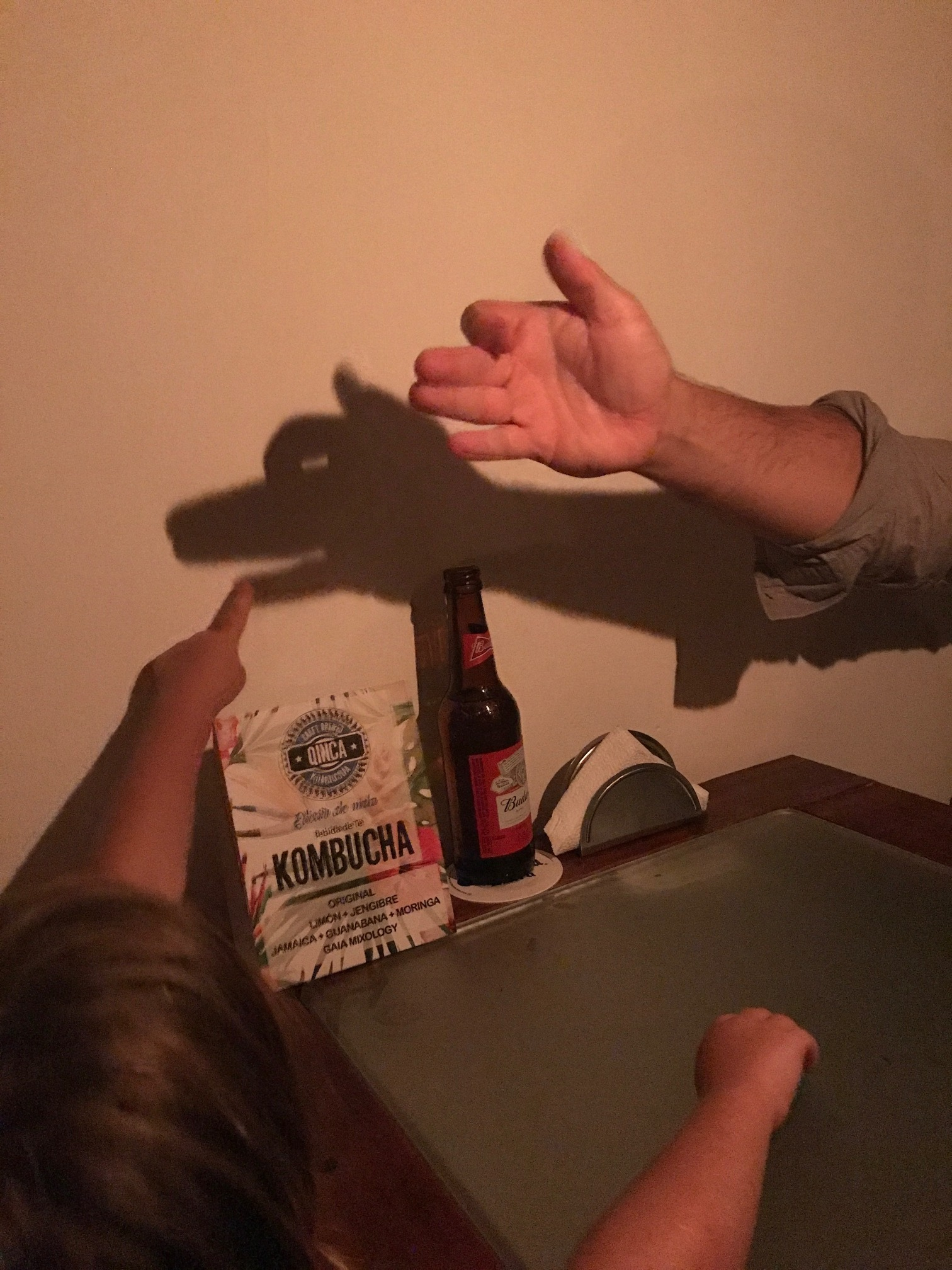 We entertained ourselves during our candlelight dinner sans electricity by making shadow puppets on the wall.
