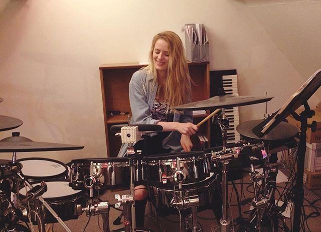 easily distracted in the studio 🥁🙈 #crossleazestudio