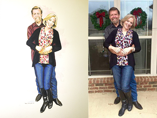 Phil and Susan, the portrait and the photo.
