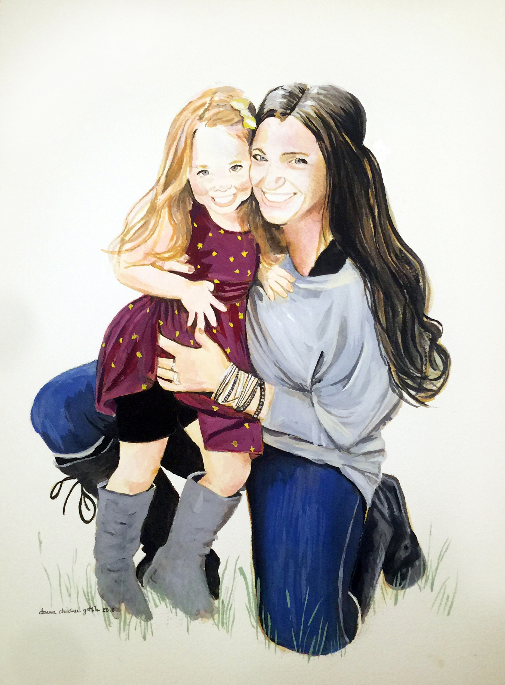 """Arizona Mother and Daughter, watercolor on paper, 12"""" x 16"""", 2018"""