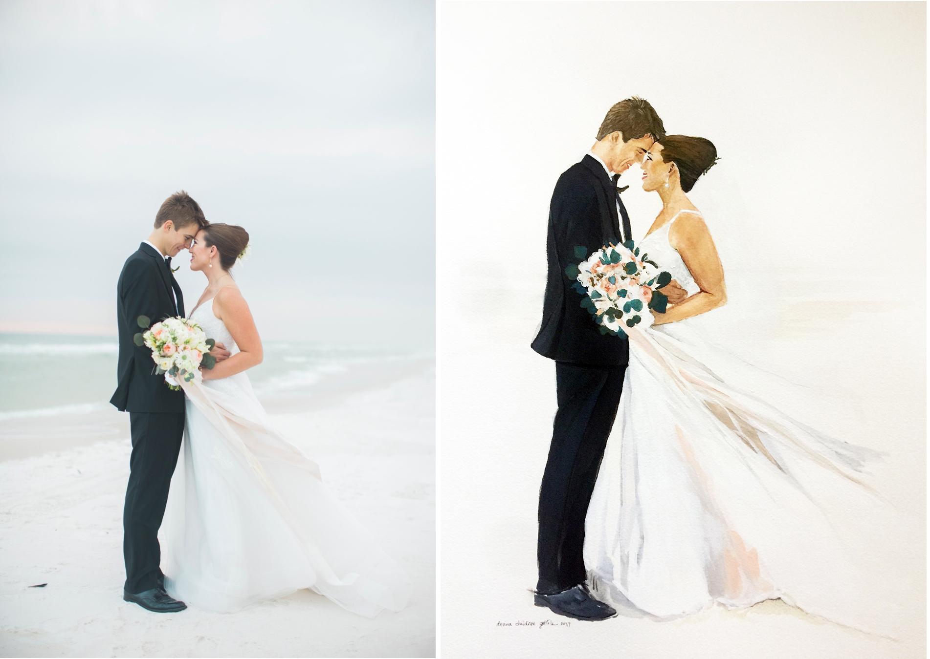 Seaside Vows, original photo and portrait