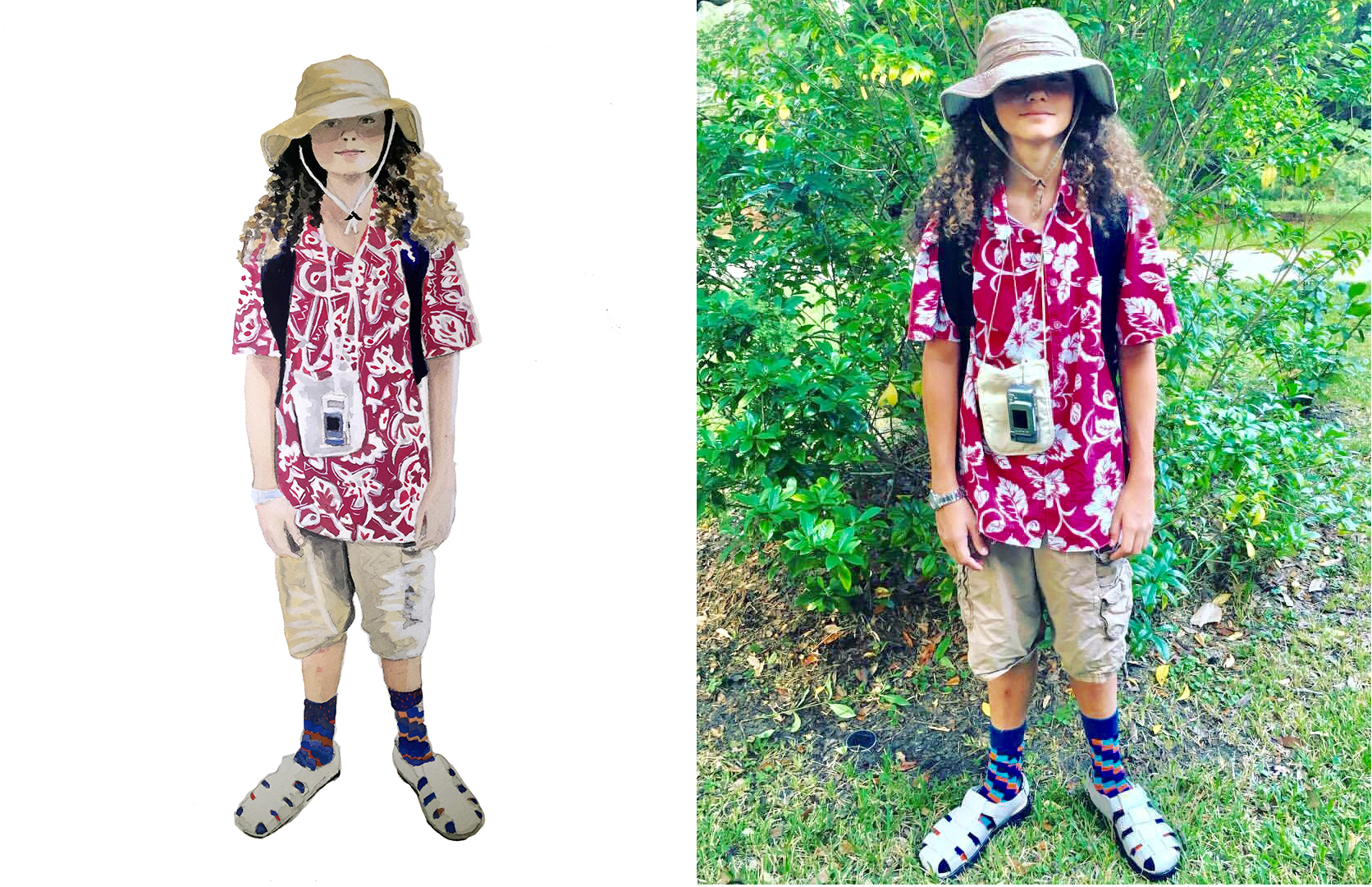 Tacky Tourist Day, Watercolor portrait and original photo .