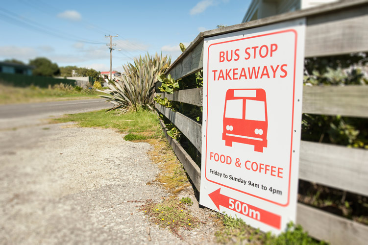Bus Stop Cafe in Te Horo, New Zealand