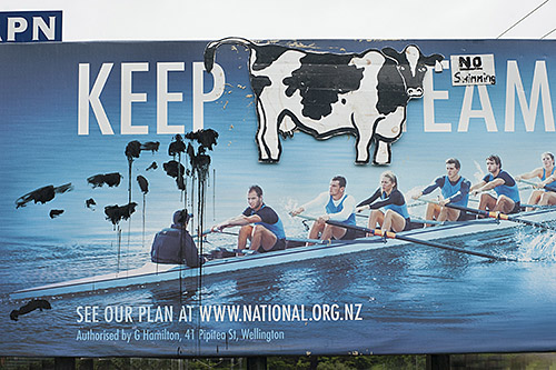 Defaced National Party billboard in the NZ election.