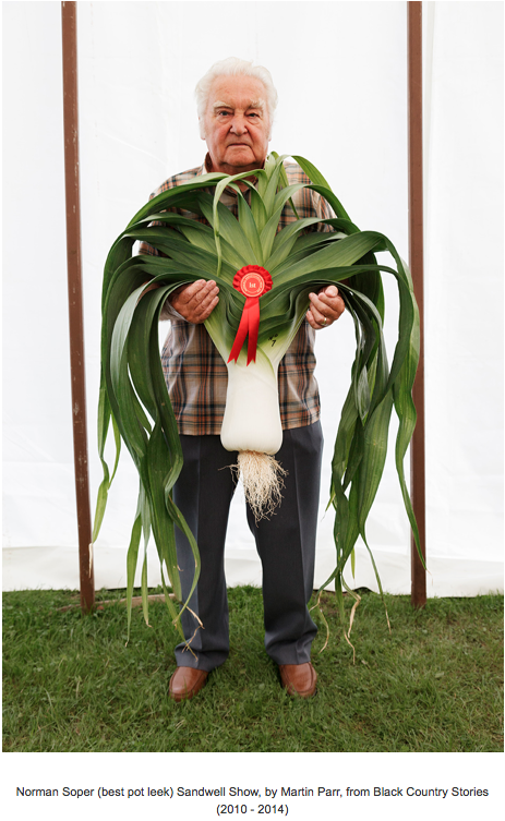 Portrait of man holding a giant leek which was the cover of Martin Parr's book Black Country Stories.
