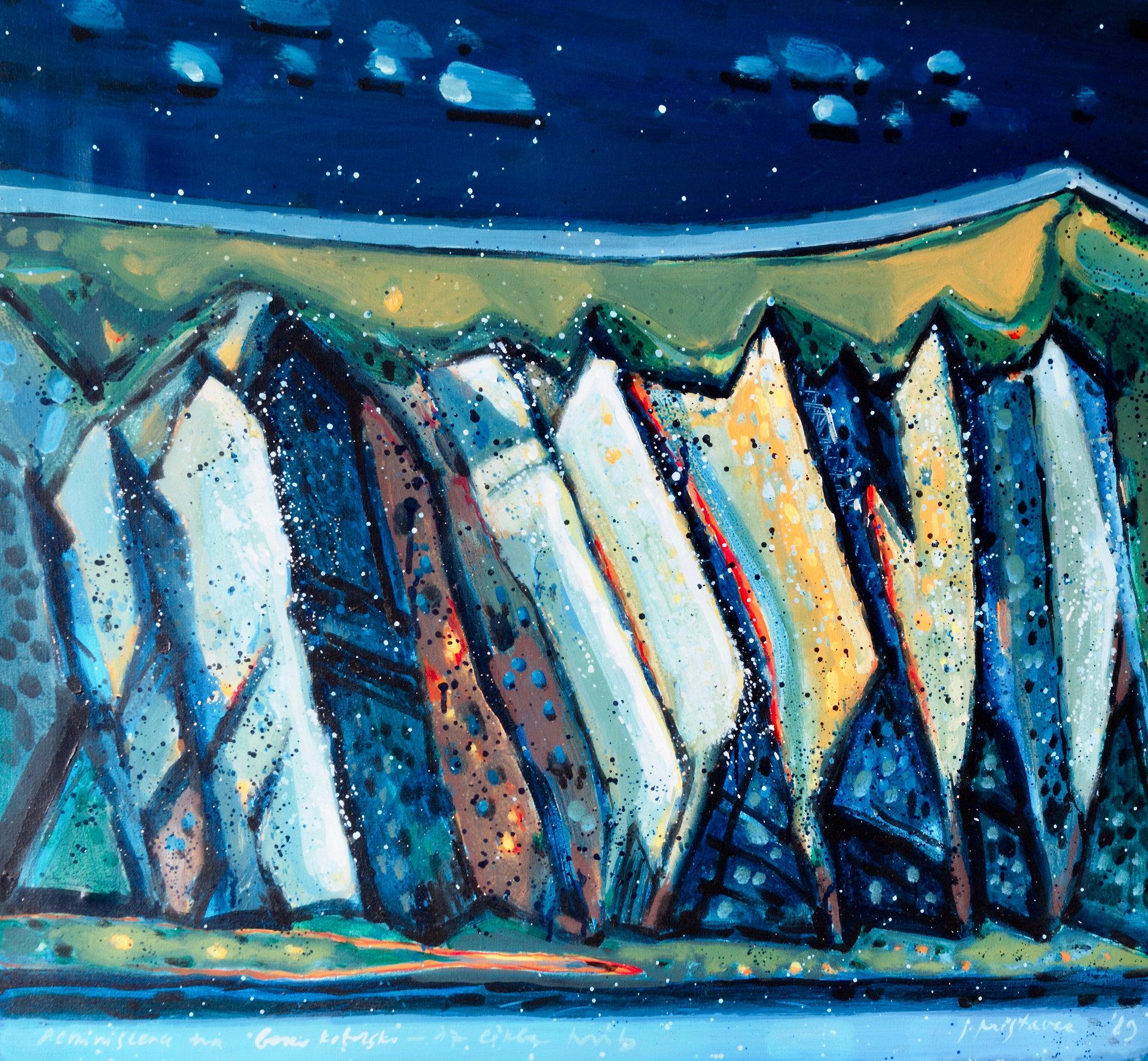 Reminiscenca na Boko Kotorsko  - iz cikla Hrib  1989, olje na platno, 90 x 80 cm