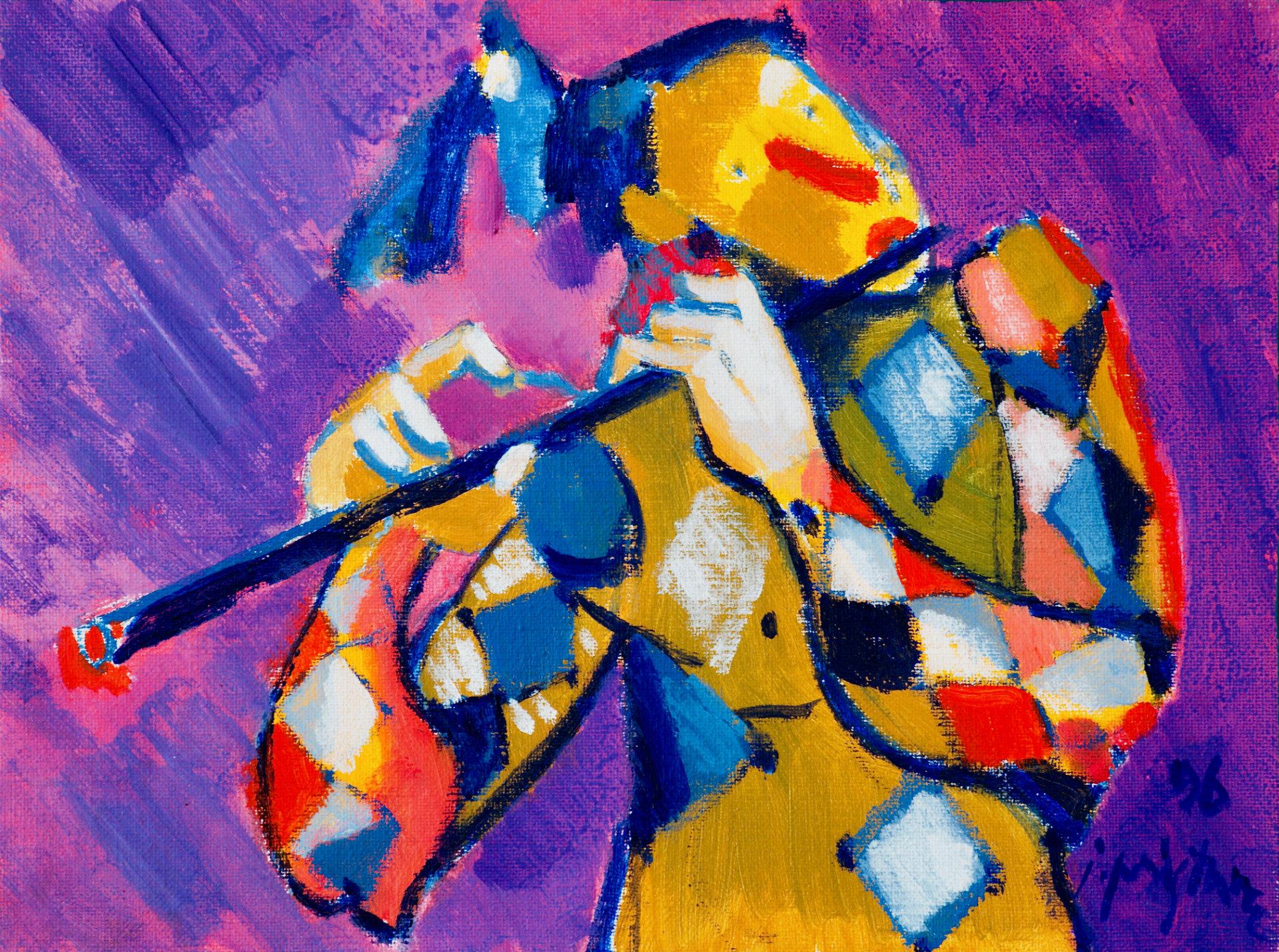 Harlekin   1996, akril na platno, 40 x 30 cm
