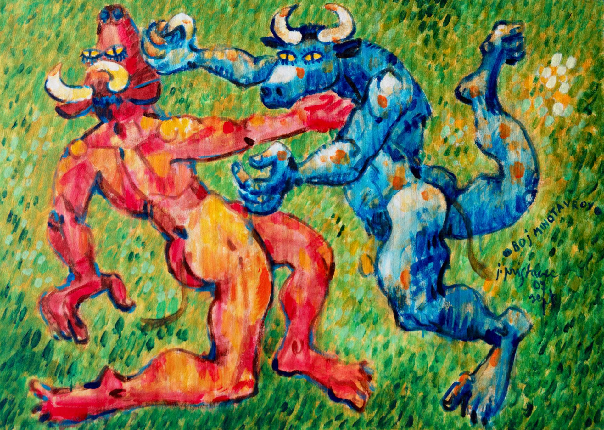 Boj minotavrov  - iz cikla Mitologija  2007, akril na platnu, 70 x 50 cm