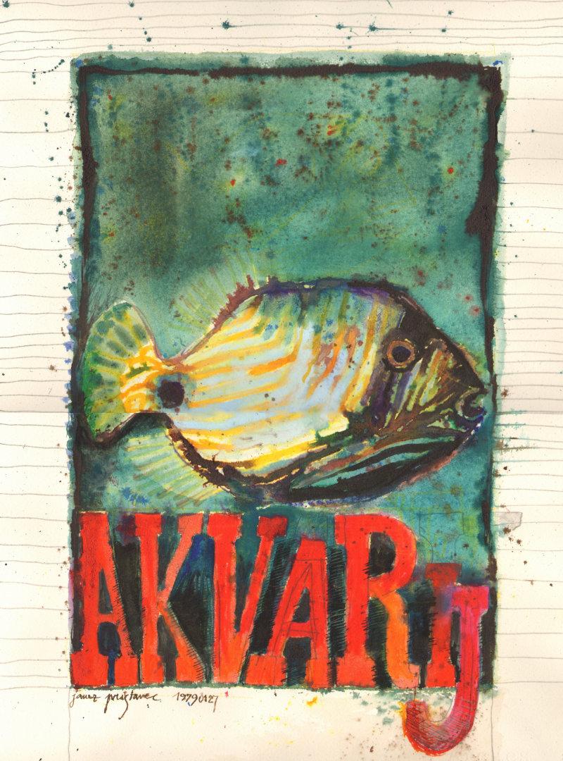 Akvarij   1979, akvarel na papirju, A3