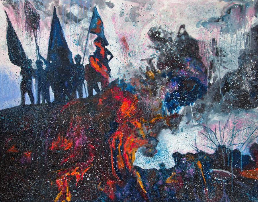 Nova revolucija II  Gregor Pratneker, olje na les, 95x120cm, 2012