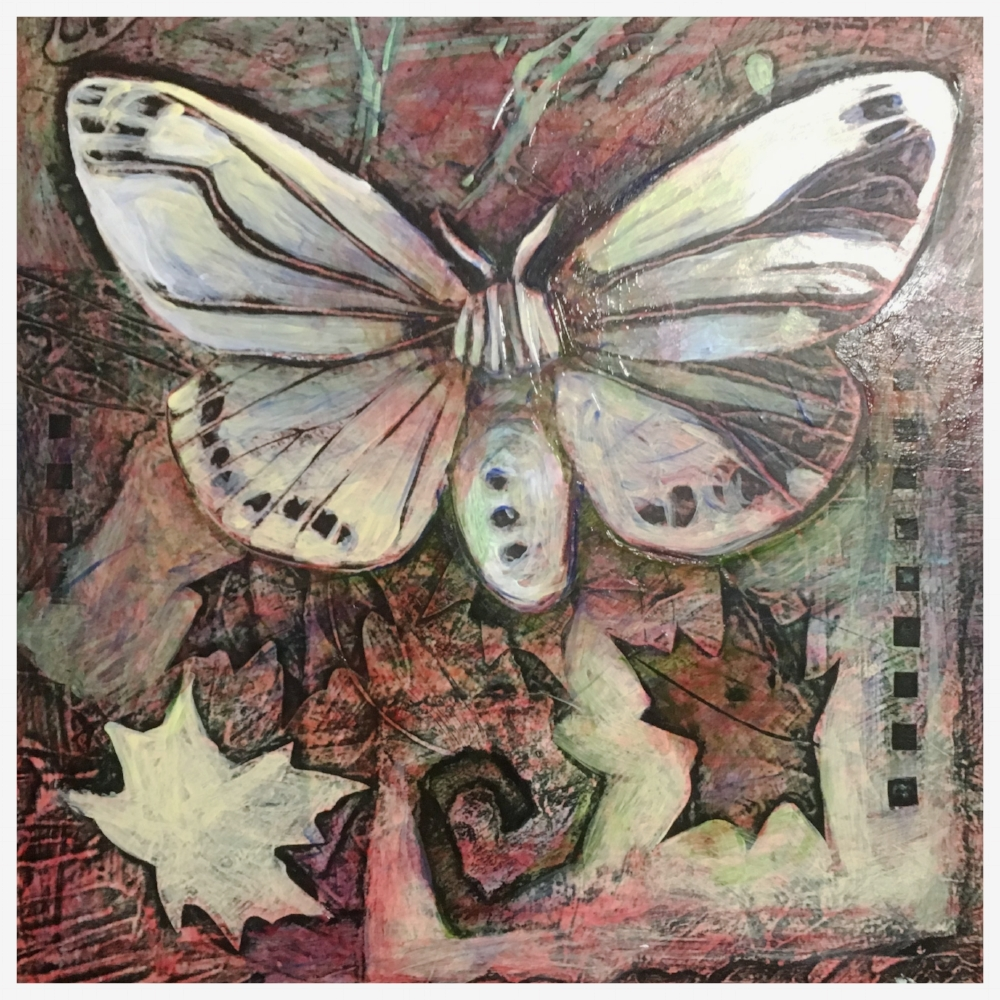 Gypsy Moth - collagraph remix (collage and acrylic)