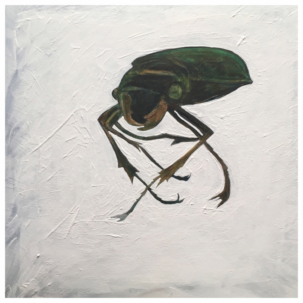 Beetle - Etching and acrylic collage on board