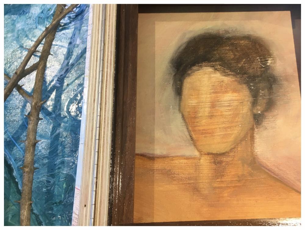 Older, semi-finished oil portrait.