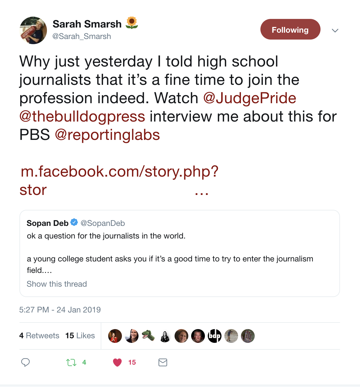 Sarah Smarsh's tweet about Amaia's interview