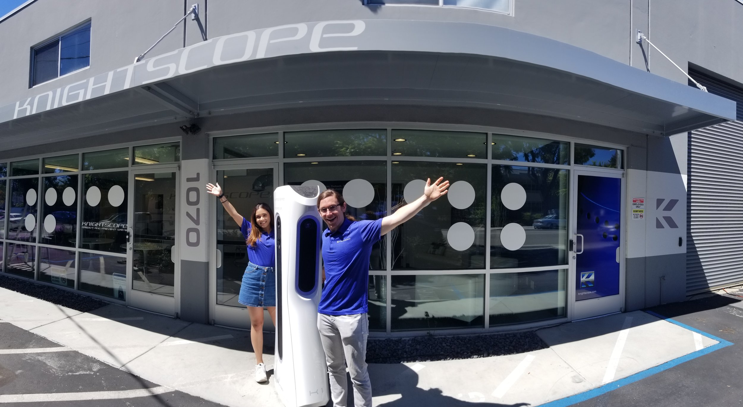 PHOTO (left to right): Shivani Singh, the K1 Stationary ADM, and Matt Condino at Knightscope Headquarters in Mountain View, California