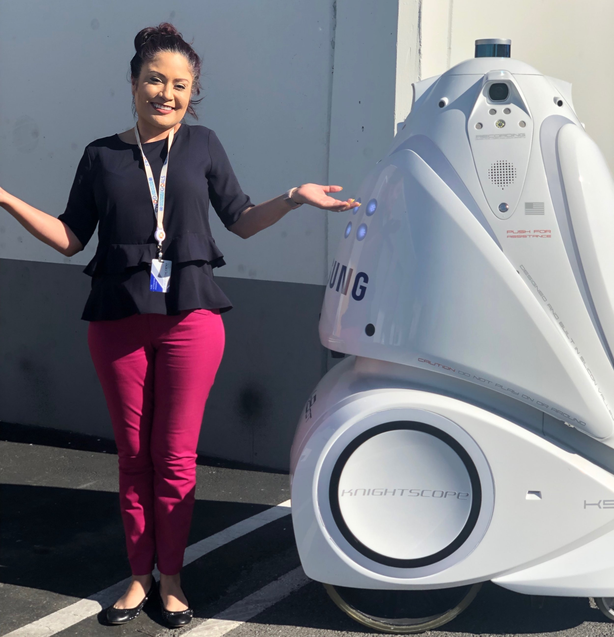 ABOVE: Mercedes Soria, EVP and Chief Intelligence Officer with a 4th Generation Knightscope K5 Autonomous Data Machine (aka #securityrobot)