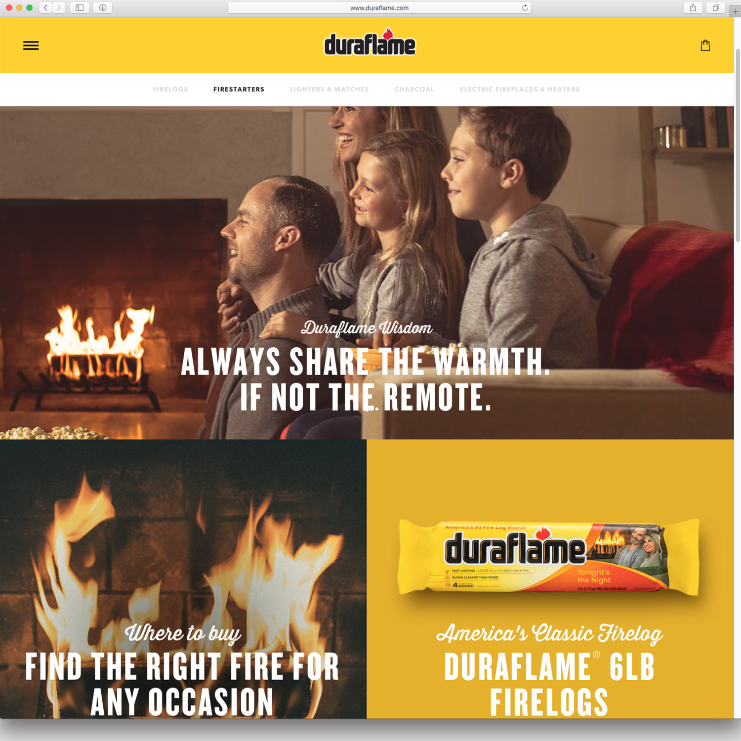 Homepage of the new Duraflame website created by Teak