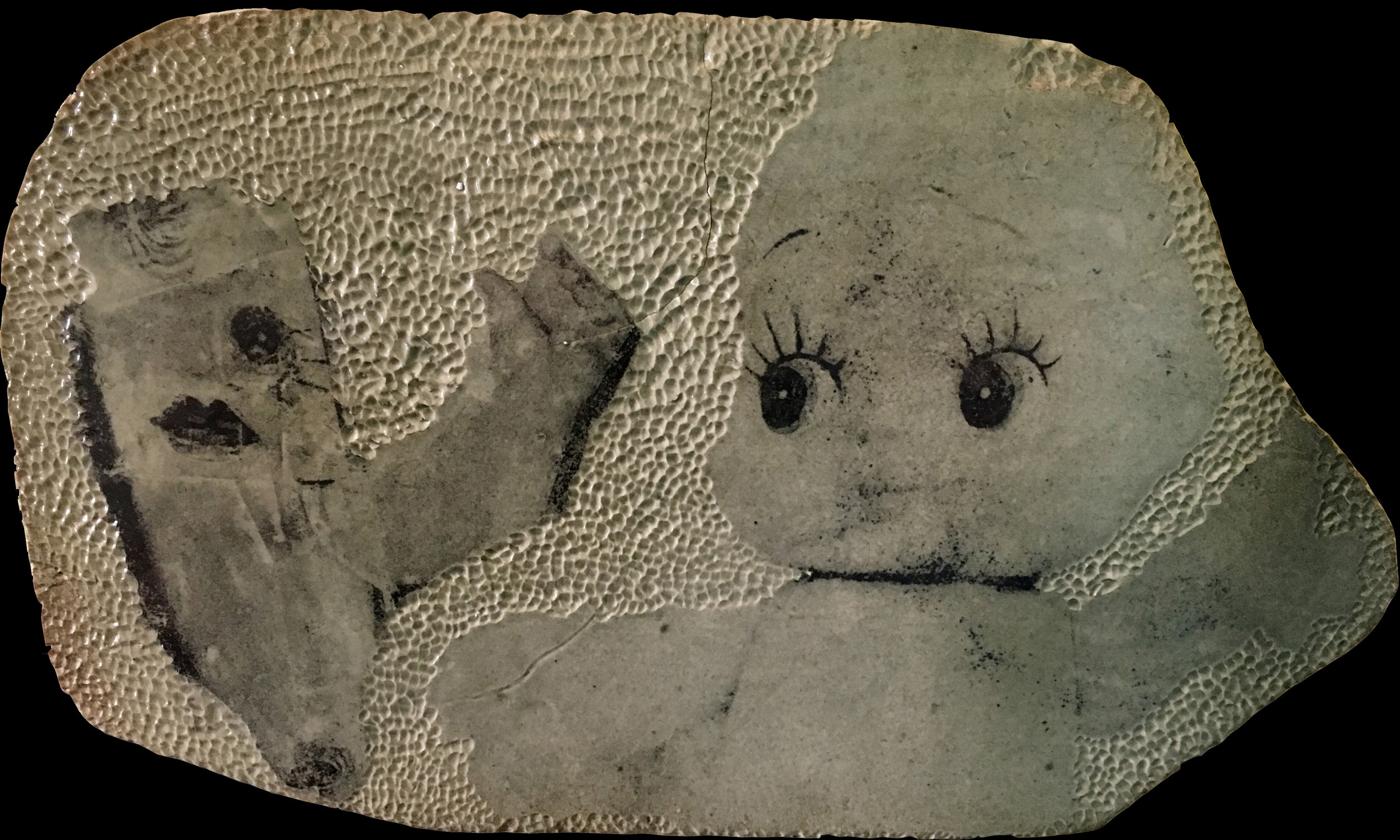 What Happened to Baby Jane?   Textured ceramic slab, found image collage, Xerox transfer, glaze. 2016.