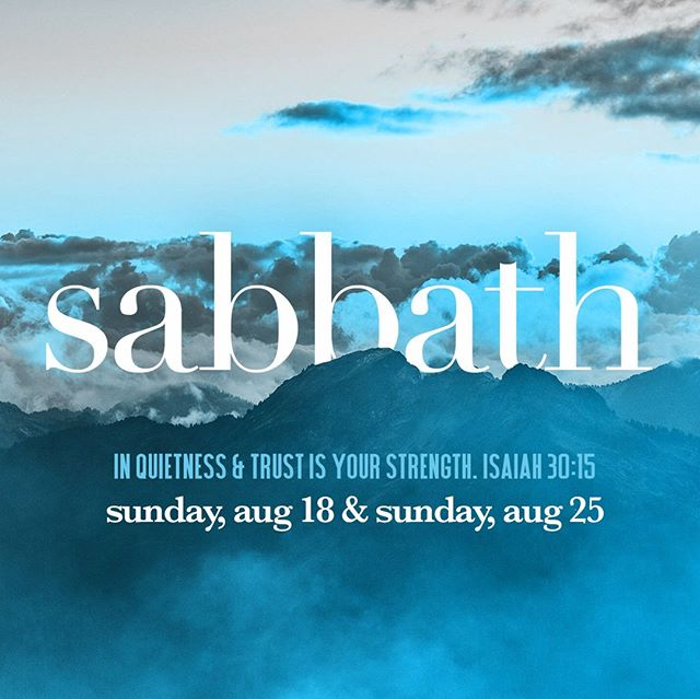 sabbath break // we will not be gathering aug 18 + aug 25⠀ For two Sundays, August 18th + 25, our House will be stepping away from our normal weekend routine and into the rhythm of Sabbath. We believe that as we cease from our efforts and celebrate again that God is the source of all we have and need, we will experience renewed strength and vision as a House. Read more at https://buff.ly/2YX9LXg