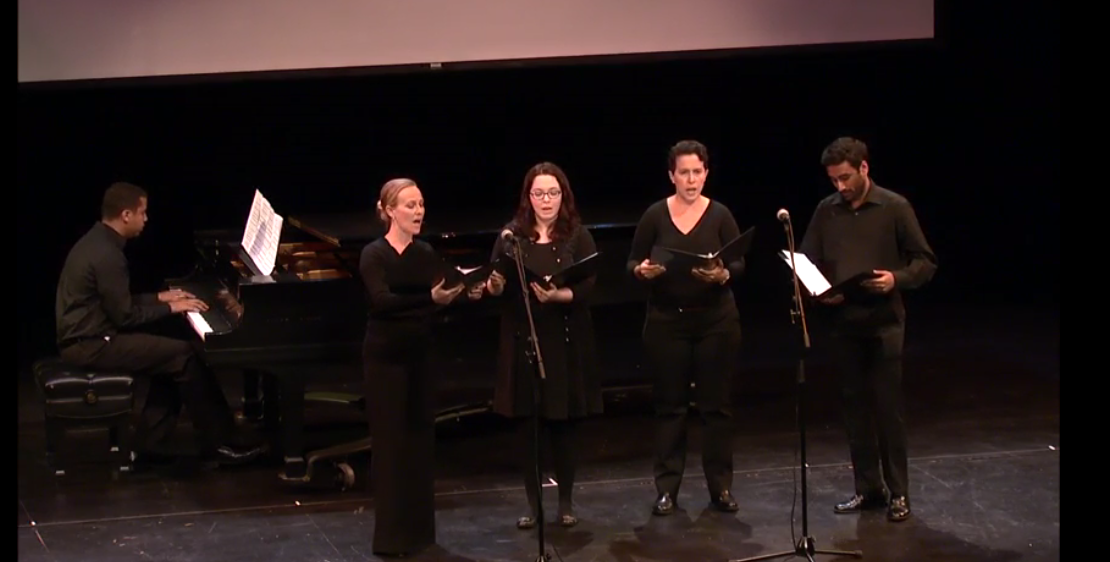 "UCLA Graduate Students in Music and Musicology performing Igor Stravinsky's arrangement of ""Star Spangled Banner"" in Schoenberg Theater as part of the proceedings ofour 1-day symposium Anthem: Remixing Race and Nation , May 8, 2017."