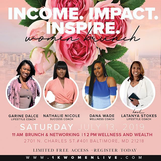 Hey Baltimore, I'll be in your city this weekend. Connect with my boss business partners & I so you can learn how you can be your own body goals and make some extra money! RSVP required. Limited free tickets 1kwomenlive.com