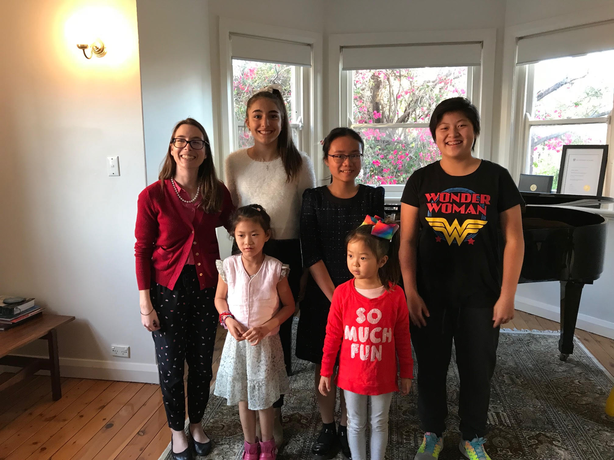 2018 Studio Photos - L-R: Dr. Mellos (left) with students Natalia, Linh, Lynette, Yvonne and Camille on April 29, 2018