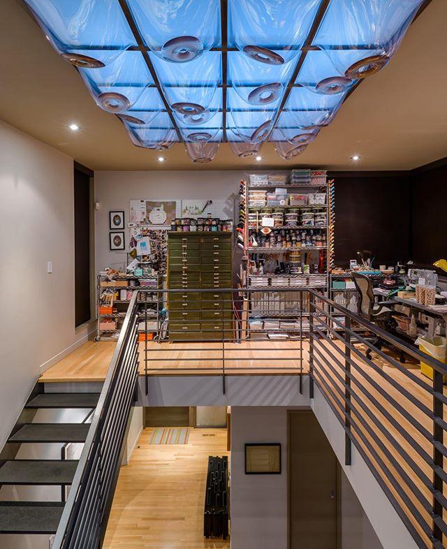 House of Planes has a large skylight with art installation by Leo Saul Berk.  View from second floor art studio. . . . . #leoberk #archinect #seattlearchitects #architizer #modernhome #dezeen #graymagazine #pnwarchitecture #houzz #seattletimes #interiordesign