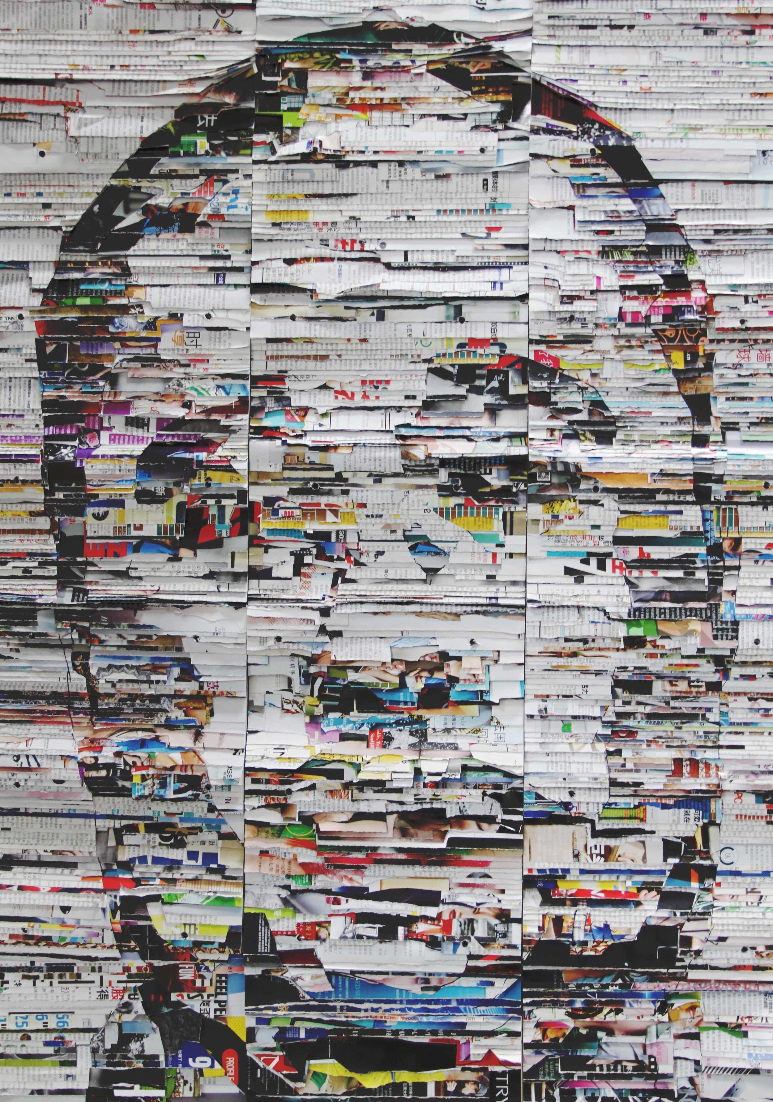 李枪,《暗礁人像1号》,2017年。媒体杂志,扎带,114cm x 83cm x 4cm。图片由艺术家提供。